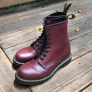 Size 9 Cherry Dr. Martens 1460 Boots